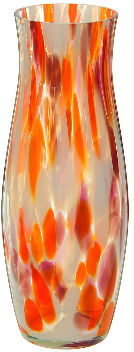 Ваза Гранд, цвет: оранжевый, 26 см1298255Ваза - не просто сосуд для букета, а украшение убранства. Поставьте в неё цветы или декоративные веточки, и эффектный интерьерный акцент готов! Стеклянный аксессуар добавит помещению лёгкости. Ваза Гранд красно-бело-марганцевая преобразит пространство и как самостоятельный элемент декора. Наполните интерьер уютом! Каждая ваза выдувается мастером. Второй точно такой же не встретить. А случайный пузырёк воздуха или застывшая стеклянная капелька на горлышке лишь подчёркивают её уникальность.
