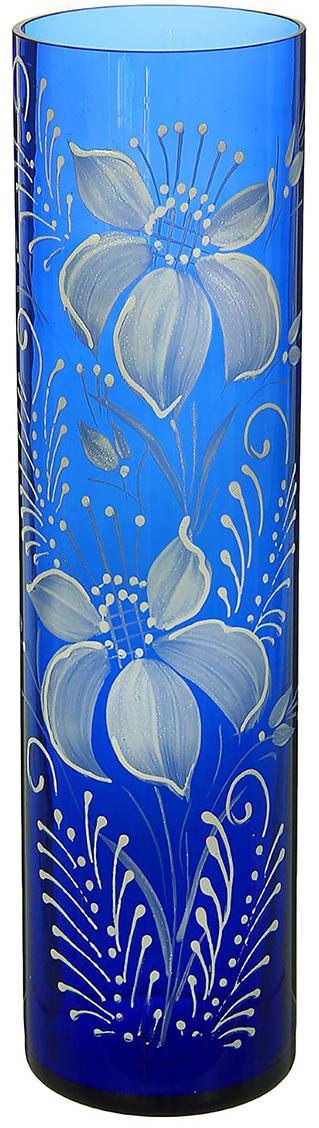 Ваза Цилиндр, цвет: синий, 30 см. 1298277