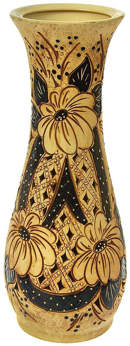 Ваза напольная Керамика ручной работы Осень, цвет: золотой1325877Это ваза - отличный способ подчеркнуть общий стиль интерьера. Существует множество причин иметь такой предмет дома. Вот лишь некоторые из них: Формирование праздничного настроения. Можно украсить вазу к Новому году гирляндой, тюльпанами на 8 марта, розами на день Святого Валентина, вербой на Пасху. За счёт того, что это заметный элемент интерьера, вы легко и быстро создадите во всём доме праздничное настроение. Заполнение углов, подиумов, ниш. Таким образом можно сделать обстановку более уютной и многогранной. Создание групповой композиции. Если позволяет площадь пространства, разместите несколько ваз так, чтобы они сочетались по стилю или цветовому решению. Это придаст обстановке более завершённый вид. Подходящая форма и стиль этого предмета подчеркнут достоинства дизайна квартиры. Ваза может стать отличным подарком по любому поводу, ведь такой элемент интерьера практичен и способен каждый день создавать хорошее настроение!