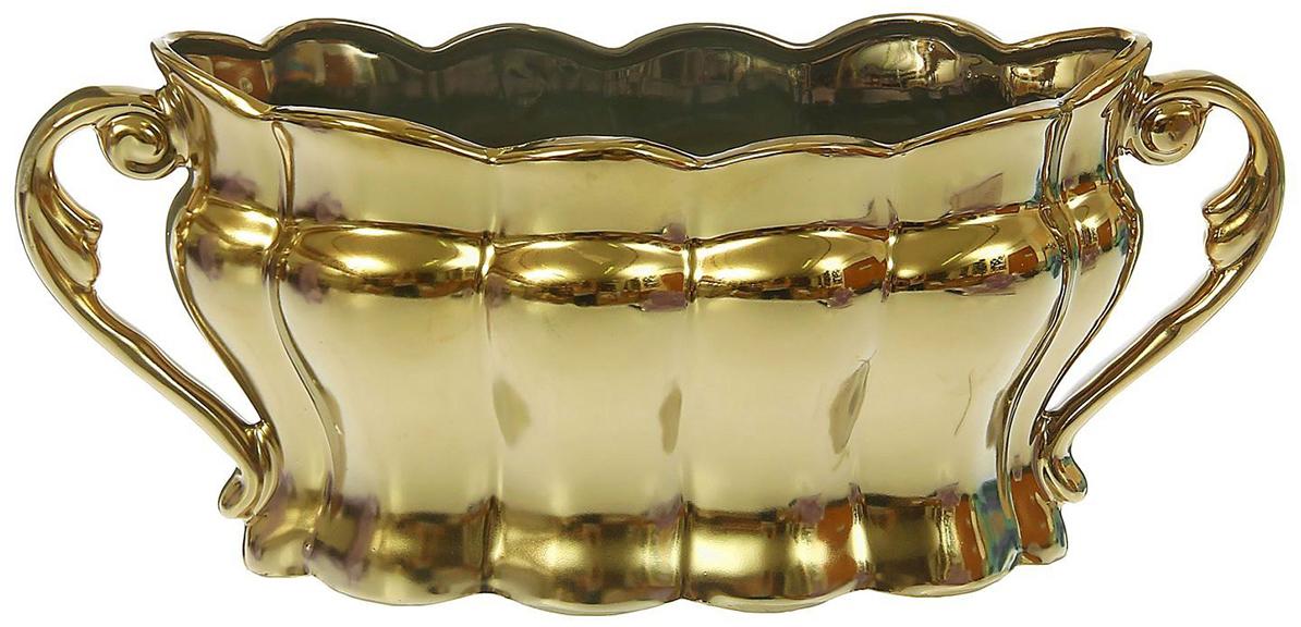 Конфетница Керамика ручной работы Ладья, цвет: золотой. 13303831330383Ваза для конфет украсит любую квартиру, дачу или офис. Преподнести её в качестве подарка друзьям или близким – отличная идея. Необычный дизайн и расцветка может вписаться в любой интерьер и стать его уникальным акцентом. Вещь предназначена для подачи конфет, сухофруктов или восточных сладостей.