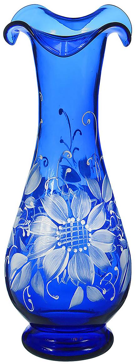 Ваза Фигурная, цвет: синий, 30 см. 13462941346294Ваза - не просто сосуд для букета, а украшение убранства. Поставьте в неё цветы или декоративные веточки, и эффектный интерьерный акцент готов! Стеклянный аксессуар добавит помещению лёгкости. Ваза Фигурная, цветы, синяя, ручная роспись преобразит пространство и как самостоятельный элемент декора. Наполните интерьер уютом! Каждая ваза выдувается мастером. Второй точно такой же не встретить. А случайный пузырёк воздуха или застывшая стеклянная капелька на горлышке лишь подчёркивают её уникальность.