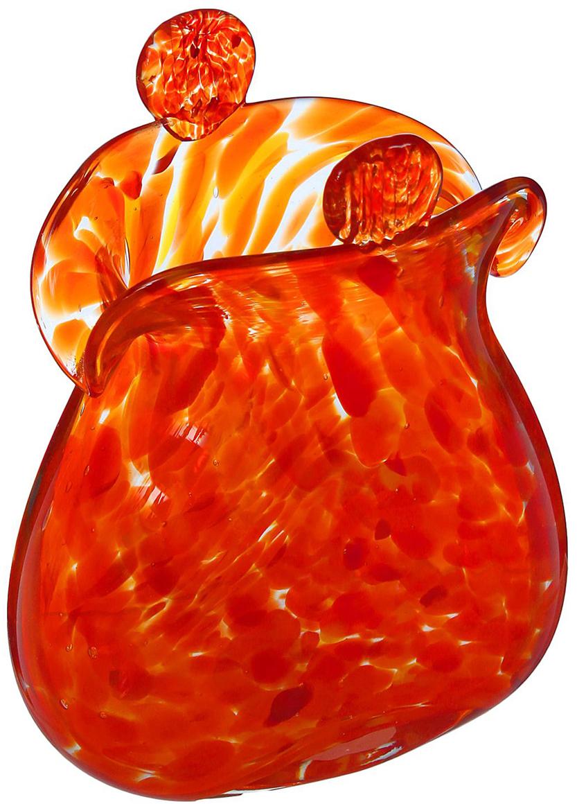 Ваза Кошелёк, цвет: красный, 16 см ваза прямая цвет красный 51 см 2176628