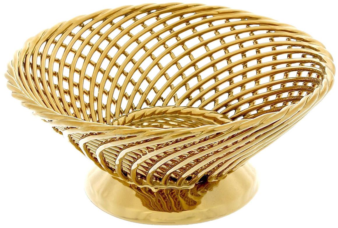 Конфетница Керамика ручной работы Плетенка, цвет: золотой1381533Ваза для конфет выполнена из фарфора золотистого цвета, а её стенки декорированы плетением. Такой дизайн придётся по вкусу тем, кто предпочитает минималистичные, но изысканные детали в интерьере. Изделие предназначено для подачи конфет, сухофруктов или восточных сладостей. Фарфоровая посуда ручной работы будет радовать своей прочностью и первоначальным внешним видом не один год!