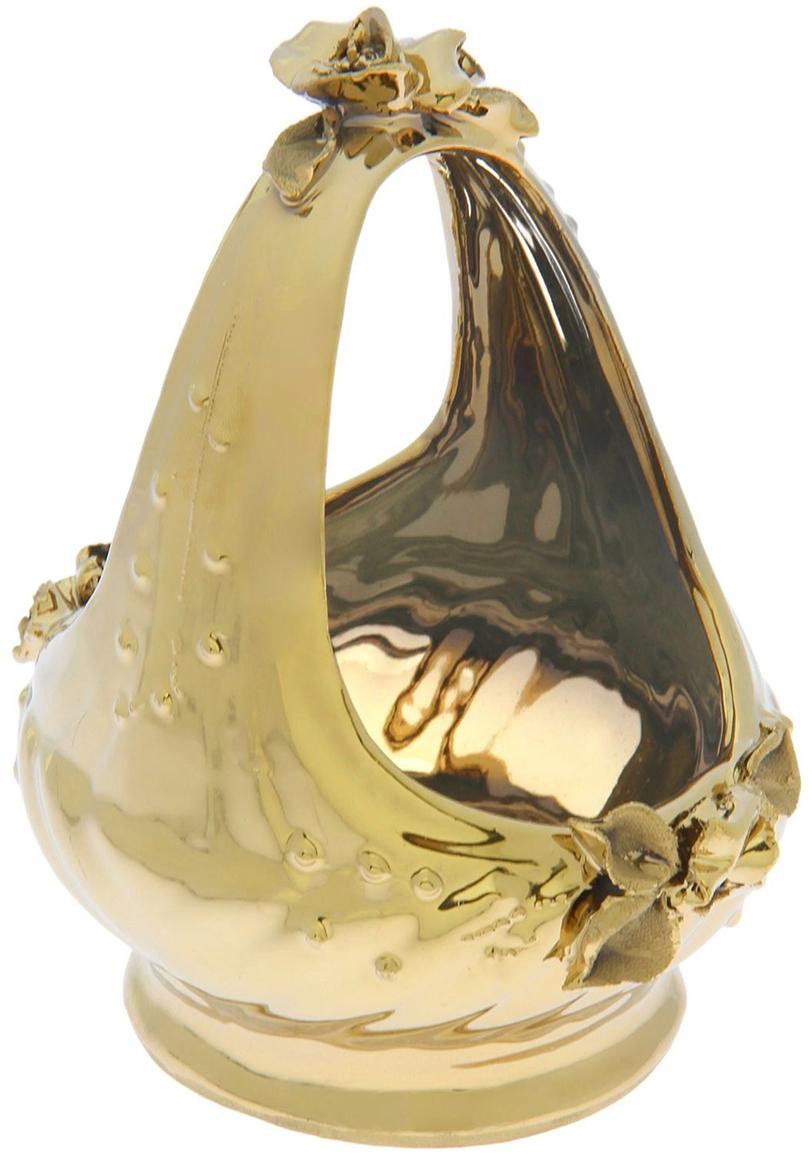 Конфетница Керамика ручной работы Корзина, цвет: желтый, малая1381604Ваза для конфет украсит любую квартиру, дачу или офис. Преподнести её в качестве подарка друзьям или близким – отличная идея. Необычный дизайн и расцветка может вписаться в любой интерьер и стать его уникальным акцентом. Вещь предназначена для подачи конфет, сухофруктов или восточных сладостей.