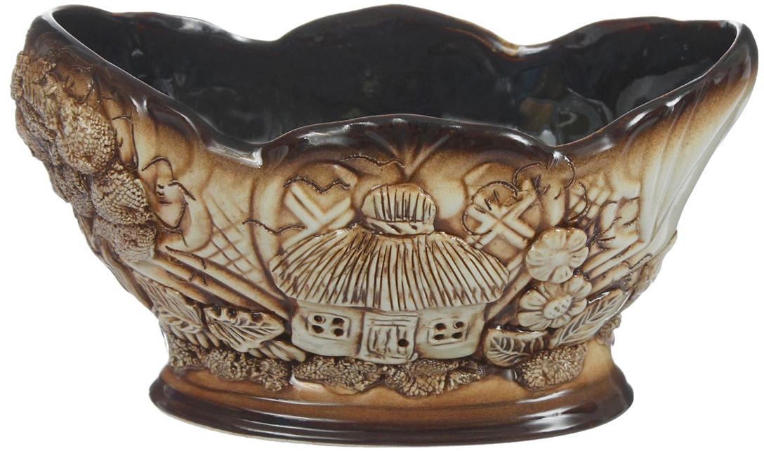 Конфетница Керамика ручной работы Ладья, цвет: коричневый. 13890091389009Ваза для конфет украсит любую квартиру, дачу или офис. Преподнести её в качестве подарка друзьям или близким – отличная идея. Необычный дизайн и расцветка может вписаться в любой интерьер и стать его уникальным акцентом. Вещь предназначена для подачи конфет, сухофруктов или восточных сладостей.