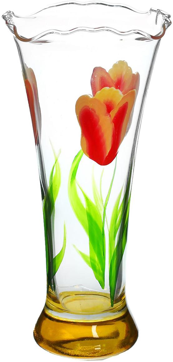 Ваза Тюльпан, 18 см1400134Ваза - не просто сосуд для букета, а украшение убранства. Поставьте в неё цветы или декоративные веточки, и эффектный интерьерный акцент готов! Стеклянный аксессуар добавит помещению лёгкости. Ваза Тюльпан жёлтое донышко преобразит пространство и как самостоятельный элемент декора. Наполните интерьер уютом! Каждая ваза выдувается мастером. Второй точно такой же не встретить. А случайный пузырёк воздуха или застывшая стеклянная капелька на горлышке лишь подчёркивают её уникальность.