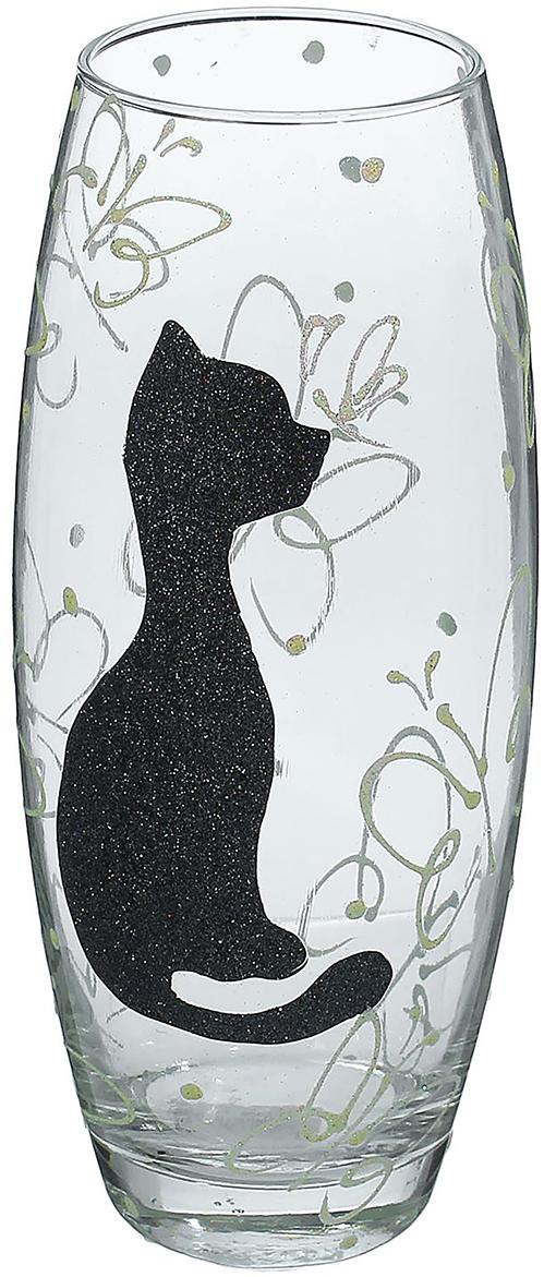"""Ваза - не просто сосуд для букета, а украшение убранства. Поставьте в неё цветы или декоративные веточки, и эффектный интерьерный акцент  готов! Стеклянный аксессуар добавит помещению лёгкости. Ваза """"Чёрная кошка"""" преобразит пространство и как самостоятельный элемент декора. Наполните интерьер уютом! Каждая ваза выдувается мастером. Второй точно такой же не встретить. А случайный пузырёк воздуха или застывшая стеклянная капелька на  горлышке лишь подчёркивают её уникальность."""