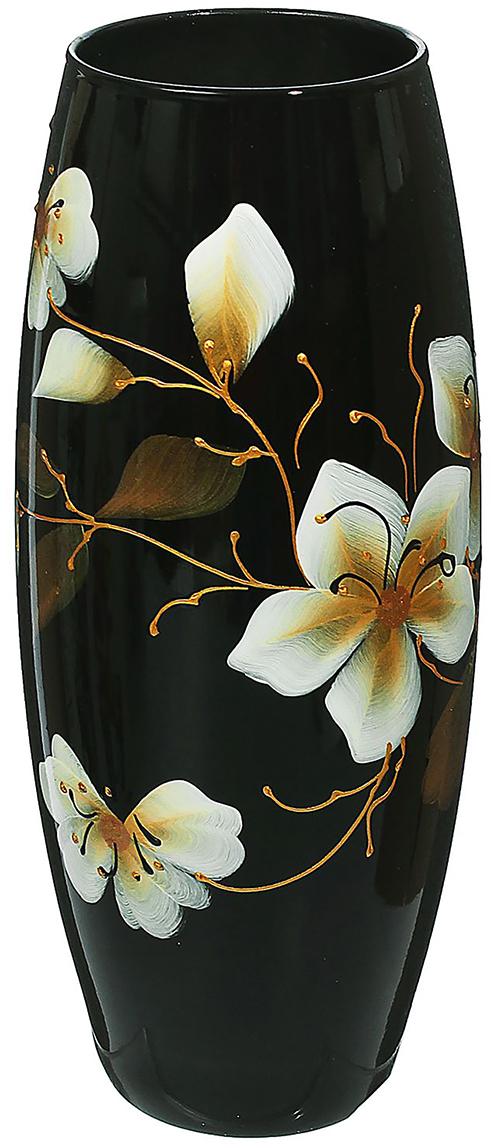 Ваза Белый цветок на чёрном фоне, цвет: черный, 26 см1466171Ваза - не просто сосуд для букета, а украшение убранства. Поставьте в неё цветы или декоративные веточки, и эффектный интерьерный акцент готов! Стеклянный аксессуар добавит помещению лёгкости. Ваза Белый цветок на чёрном фоне преобразит пространство и как самостоятельный элемент декора. Наполните интерьер уютом! Каждая ваза выдувается мастером. Второй точно такой же не встретить. А случайный пузырёк воздуха или застывшая стеклянная капелька на горлышке лишь подчёркивают её уникальность.