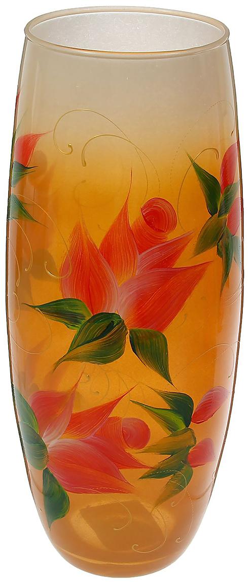"""Ваза - не просто сосуд для букета, а украшение убранства. Поставьте в неё цветы или декоративные веточки, и эффектный интерьерный акцент готов! Стеклянный аксессуар добавит помещению лёгкости. Ваза """"Розы на бело-оранжевом"""" преобразит пространство и как самостоятельный элемент декора. Наполните интерьер уютом! Каждая ваза выдувается мастером. Второй точно такой же не встретить. А случайный пузырёк воздуха или застывшая стеклянная капелька на горлышке лишь подчёркивают её уникальность."""