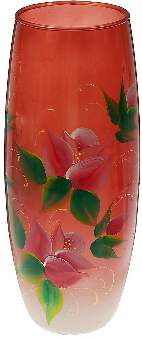 Ваза Evis Роза на медно-белом, цвет: красный1468590Ваза - не просто сосуд для букета, а украшение убранства. Поставьте в неё цветы или декоративные веточки, и эффектный интерьерный акцент готов! Стеклянный аксессуар добавит помещению лёгкости. Ваза Роза на медно-белом преобразит пространство и как самостоятельный элемент декора. Наполните интерьер уютом! Каждая ваза выдувается мастером. Второй точно такой же не встретить. А случайный пузырёк воздуха или застывшая стеклянная капелька на горлышке лишь подчёркивают её уникальность.