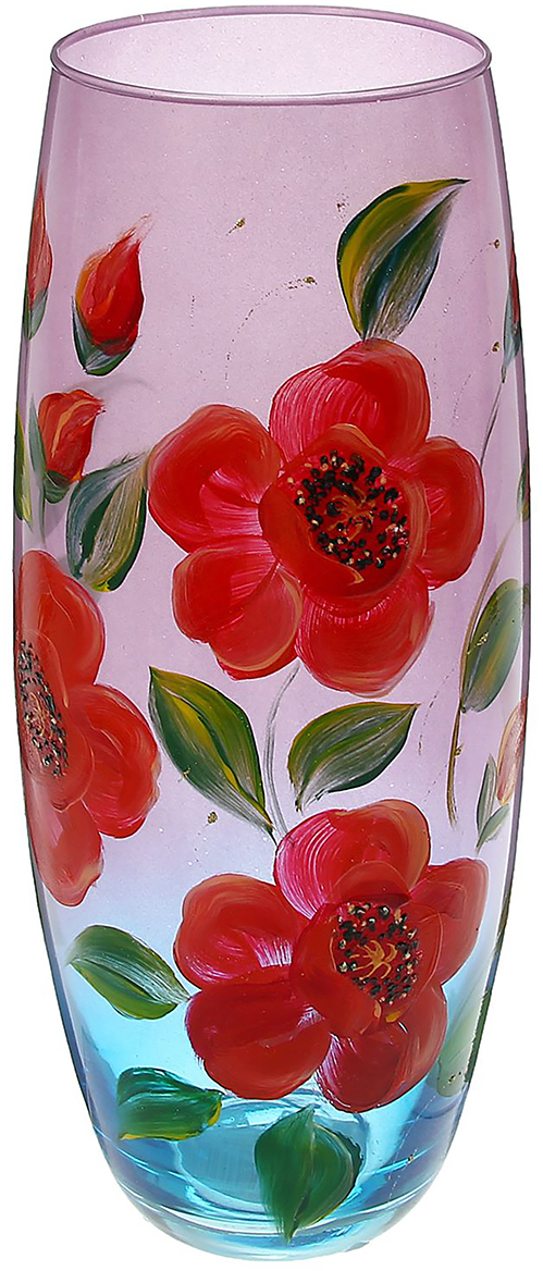 Ваза Evis Маки на розовом, цвет: розовый1468591Ваза - не просто сосуд для букета, а украшение убранства. Поставьте в неё цветы или декоративные веточки, и эффектный интерьерный акцент готов! Стеклянный аксессуар добавит помещению лёгкости. Ваза Маки на розовом преобразит пространство и как самостоятельный элемент декора. Наполните интерьер уютом! Каждая ваза выдувается мастером. Второй точно такой же не встретить. А случайный пузырёк воздуха или застывшая стеклянная капелька на горлышке лишь подчёркивают её уникальность.