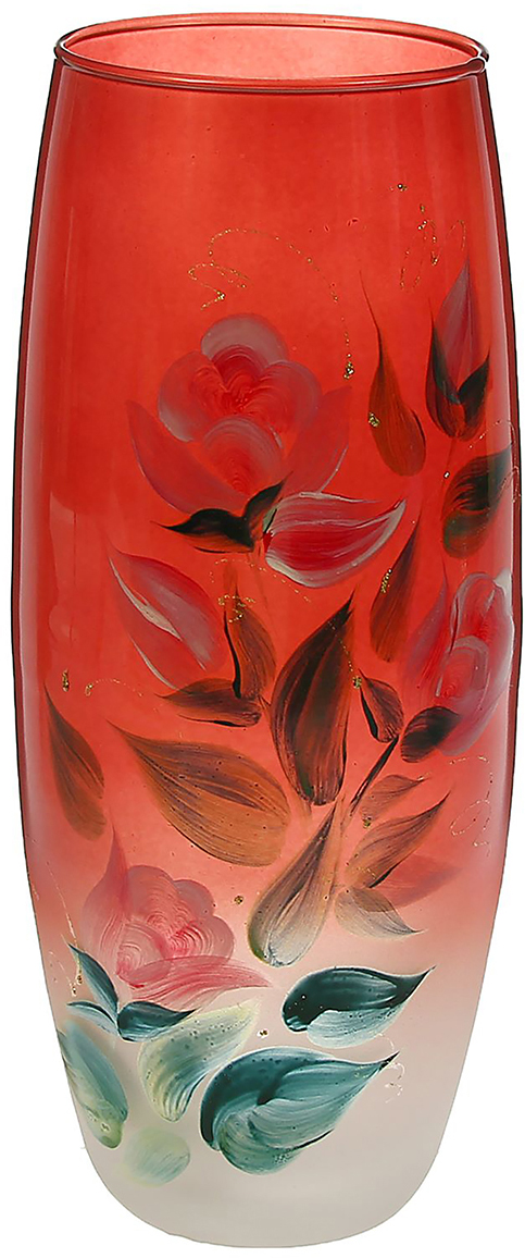 """Ваза - не просто сосуд для букета, а украшение убранства. Поставьте в неё цветы  или декоративные веточки, и эффектный интерьерный акцент готов! Стеклянный  аксессуар добавит помещению лёгкости. Ваза """"Розы на красном"""" преобразит пространство и как самостоятельный элемент  декора. Наполните интерьер уютом! Каждая ваза выдувается мастером. Второй точно такой же не встретить. А  случайный пузырёк воздуха или застывшая стеклянная капелька на горлышке лишь  подчёркивают её уникальность."""