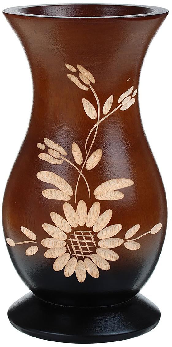Ваза Маргаритка фьюжн, цвет: коричневый, 18,5 см1487855Ваза - изысканный аксессуар, который привносит в интерьер неповторимость, лёгкость и изящество. Она практична и эстетична, делает обстановку разнообразнее и оригинальнее. Экзотический сосуд будет наиболее удачно смотреться в прихожей, гостиной или спальне. Поставьте в вазу цветы или декоративные ветки, и помещение преобразится. Кроме того, такая вещь станет уместным подарком новосёлу или другу, который ценит уют.
