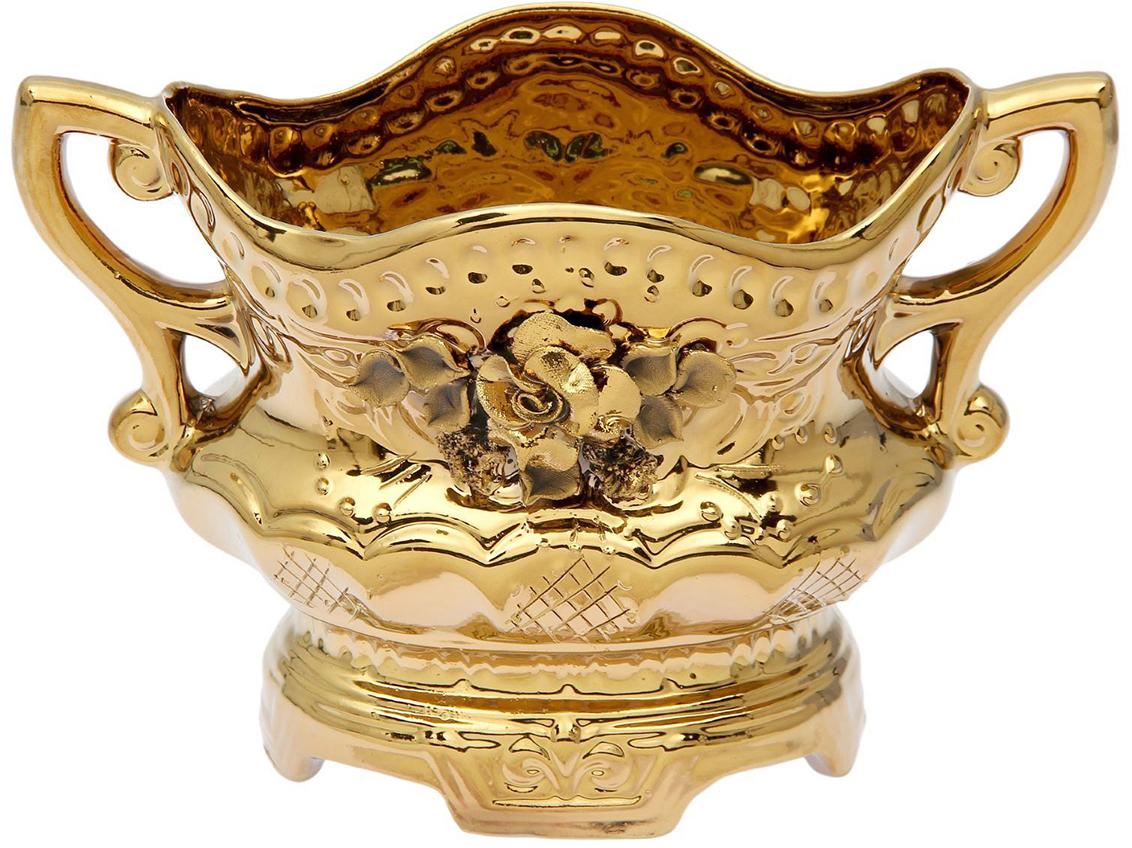 Конфетница Керамика ручной работы Ладья, цвет: золотой. 15066261506626Ваза для конфет украсит любую квартиру, дачу или офис. Преподнести её в качестве подарка друзьям или близким – отличная идея. Необычный дизайн и расцветка может вписаться в любой интерьер и стать его уникальным акцентом. Вещь предназначена для подачи конфет, сухофруктов или восточных сладостей.