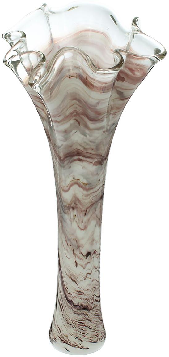 Ваза Серпантин, цвет: коричневый, 40 см1513370Ваза - не просто сосуд для букета, а украшение убранства. Поставьте в неё цветы или декоративные веточки, и эффектный интерьерный акцент готов! Стеклянный аксессуар добавит помещению лёгкости. Ваза Серпантин молочно-марганцевая преобразит пространство и как самостоятельный элемент декора. Наполните интерьер уютом! Каждая ваза выдувается мастером. Второй точно такой же не встретить. А случайный пузырёк воздуха или застывшая стеклянная капелька на горлышке лишь подчёркивают её уникальность.