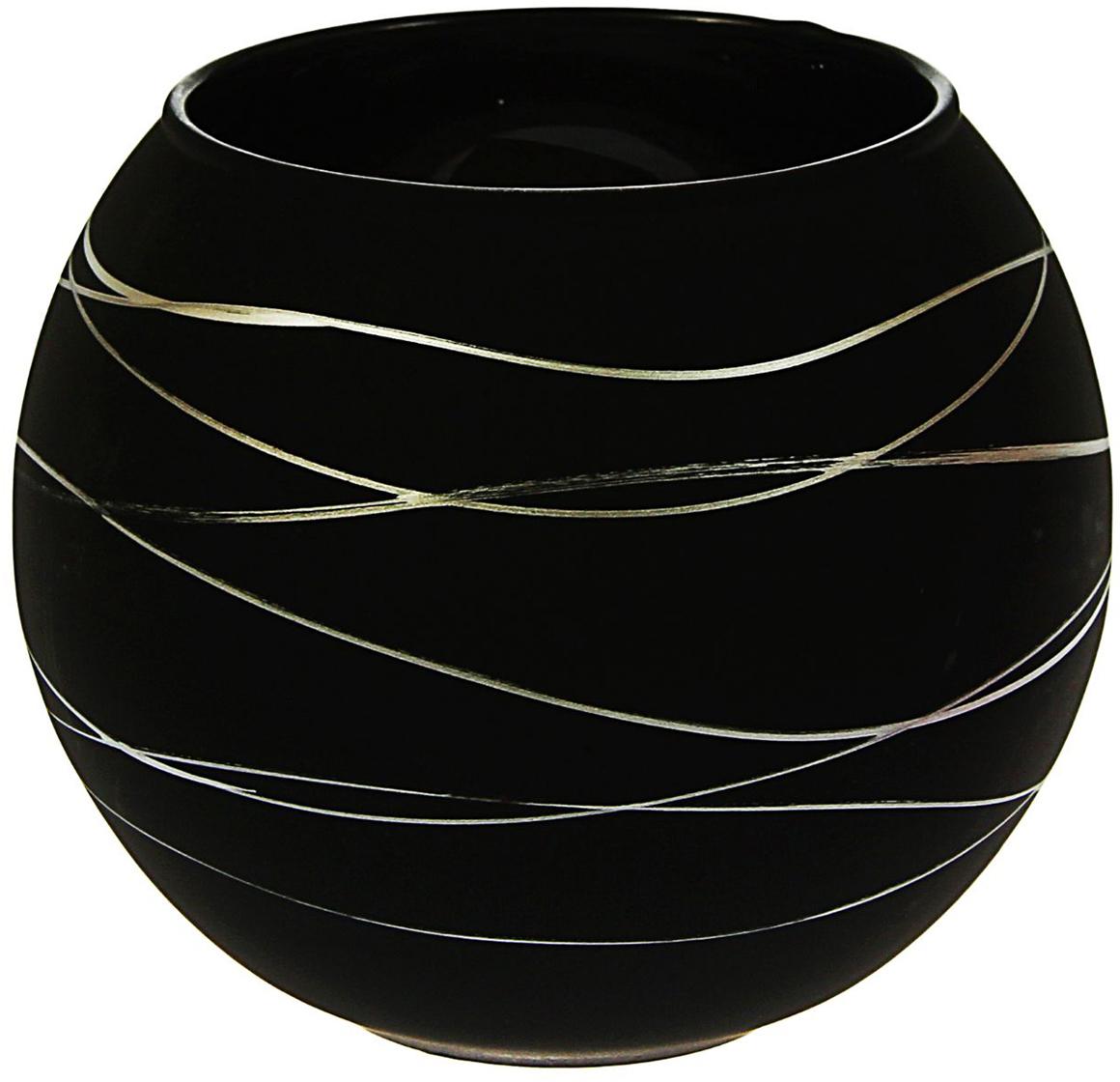 Ваза-шар Evis Серпантин, цвет: черный, 2 л ваза evis вероника 1 95 л
