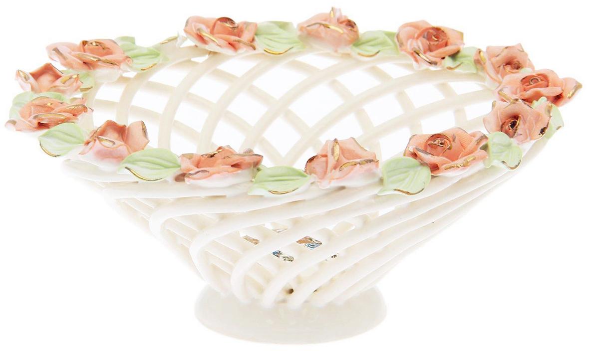 Конфетница Керамика ручной работы Мартинка, цвет: белый. 15470911547091Ваза для конфет выполнена из фарфора белого цвета. Её стенки декорированы плетением, а дно украшено рисунком. Изделие оформлено изящной лепкой в виде цветочной композиции с золотым обрамлением. Такой дизайн обязательно придётся по вкусу тем, кто предпочитает нежные цвета и изысканные детали в интерьере. Вещь предназначена для подачи конфет, сухофруктов или восточных сладостей. Фарфоровая посуда ручной работы будет радовать своей прочностью и первоначальным внешним видом не один год!