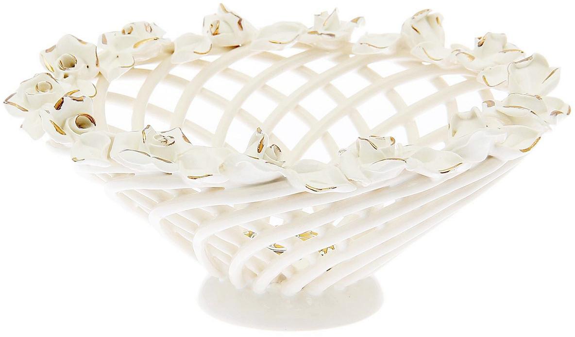 Конфетница Керамика ручной работы Мартинка, цвет: белый1547092Ваза для конфет выполнена из фарфора белого цвета. Её стенки декорированы плетением, а дно украшено рисунком. Изделие оформлено изящной лепкой в виде цветочной композиции с золотым обрамлением.Такой дизайн обязательно придётся по вкусу тем, кто предпочитает нежные цвета и изысканные детали в интерьере. Вещь предназначена для подачи конфет, сухофруктов или восточных сладостей.Фарфоровая посуда ручной работы будет радовать своей прочностью и первоначальным внешним видом не один год!