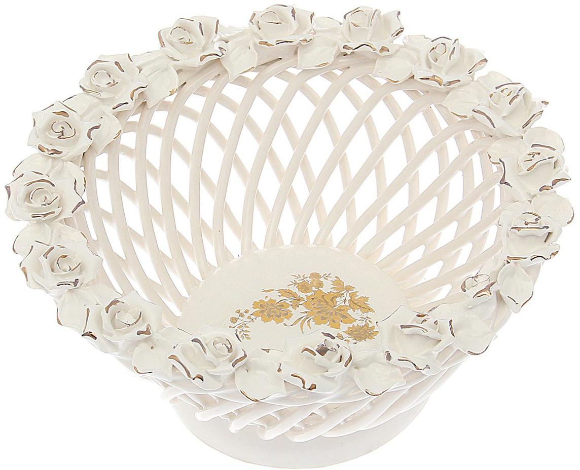 Конфетница Керамика ручной работы Классика, цвет: белый, большая. 16475001647500Ваза для конфет выполнена из фарфора белого цвета. Её стенки декорированы плетением, а дно украшено рисунком. Изделие оформлено изящной лепкой в виде цветочной композиции с золотым обрамлением. Такой дизайн обязательно придётся по вкусу тем, кто предпочитает нежные цвета и изысканные детали в интерьере. Вещь предназначена для подачи конфет, сухофруктов или восточных сладостей. Фарфоровая посуда ручной работы будет радовать своей прочностью и первоначальным внешним видом не один год!