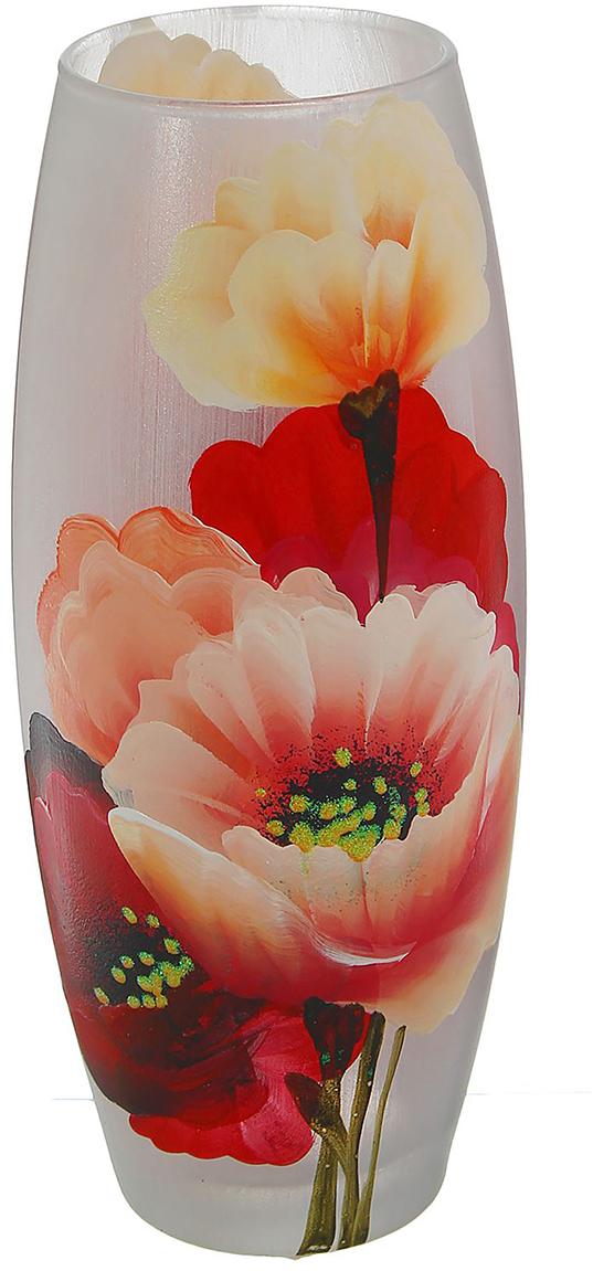 Ваза Букет маков, цвет: красный, 26 см ваза прямая цвет красный 51 см 2176628
