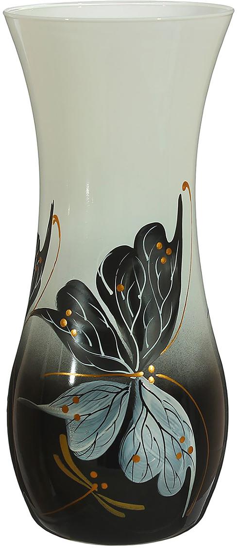Ваза Чёрно-белая бабочка, цвет: черный, 25,5 см1696751Ваза - не просто сосуд для букета, а украшение убранства. Поставьте в неё цветы или декоративные веточки, и эффектный интерьерный акцент готов! Стеклянный аксессуар добавит помещению лёгкости. Ваза Чёрно-белая бабочка преобразит пространство и как самостоятельный элемент декора. Наполните интерьер уютом! Каждая ваза выдувается мастером. Второй точно такой же не встретить. А случайный пузырёк воздуха или застывшая стеклянная капелька на горлышке лишь подчёркивают её уникальность.