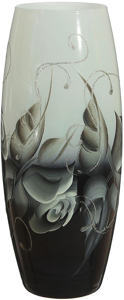 Ваза Чёрно-белая роза, цвет: черный, 26 см1696763Ваза - не просто сосуд для букета, а украшение убранства. Поставьте в неё цветы или декоративные веточки, и эффектный интерьерный акцент готов! Стеклянный аксессуар добавит помещению лёгкости. Ваза Чёрно-белая роза преобразит пространство и как самостоятельный элемент декора. Наполните интерьер уютом! Каждая ваза выдувается мастером. Второй точно такой же не встретить. А случайный пузырёк воздуха или застывшая стеклянная капелька на горлышке лишь подчёркивают её уникальность.