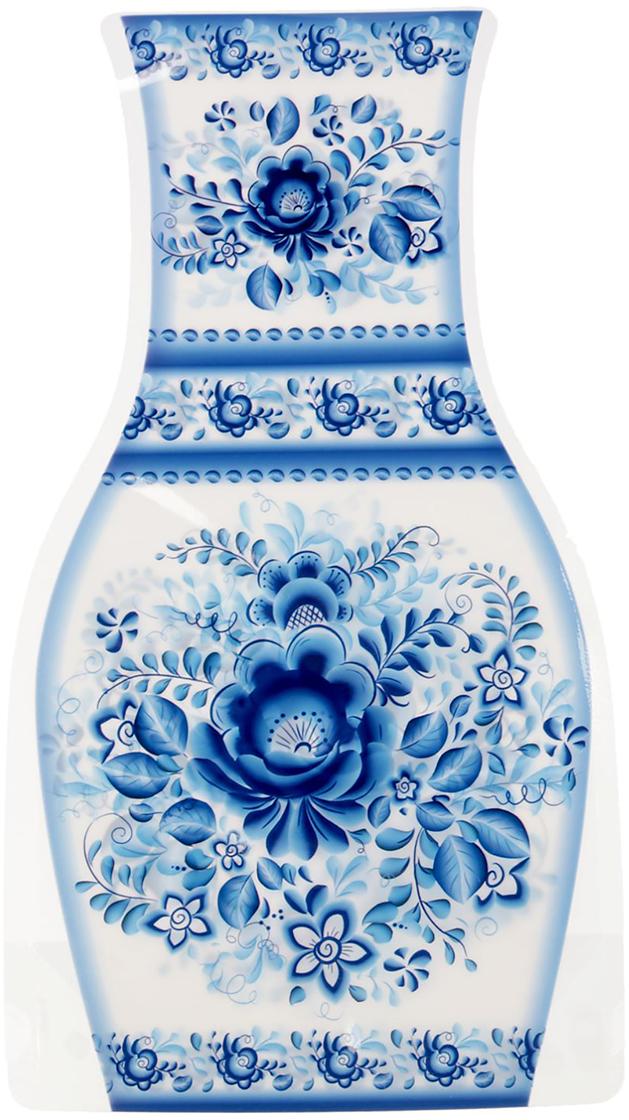 Ваза для цветов Гжель, складная, цвет: синий, высота 26,8 см1716541Ваза изготовлена из тонкого пластика. В сложенном виде изделие не толще листа бумаги.Налейте в нее воду, и она с лёгкостью примет нужную форму. Преимущества складной вазыУстойчивость: благодаря своей форме и тяжести воды, изделие подходит для любого букетадо 15 цветков. Компактность: в сложенном состоянии займёт минимум места, не больше полиэтиленовогопакета. Безопасность: если ребёнок или домашнее животное опрокинет ёмкость, она не разобьётся.Многократность использования: высушите, сложите и уберите предмет, если он не нужен.Такая ваза будет отличным подарком на 8 Марта, день рождения, а также станет прекраснымдополнением к букету.