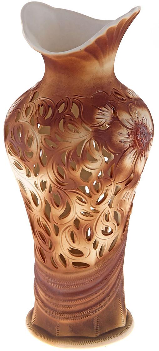 Ваза Керамика ручной работы Джульетта, цвет: коричневый, большая172474Не знаете чем разнообразить надоевший интерьер? Шикарная роспись этих настольных ваз впишется в любое помещение. Подарите такую вазу близкому человеку на любой праздник, и он останется доволен.