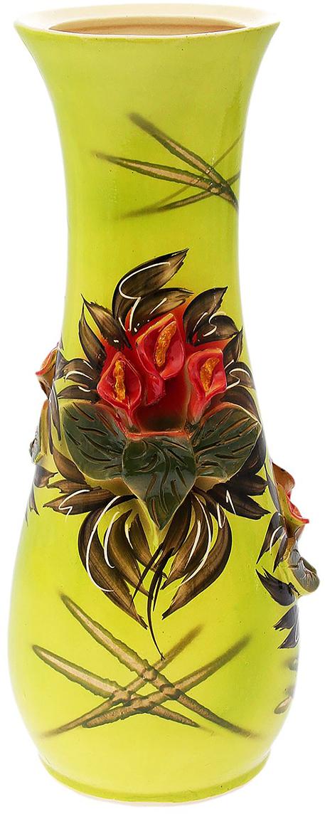 Ваза напольная Керамика ручной работы Осень, цвет: желтый172516Это ваза - отличный способ подчеркнуть общий стиль интерьера. Существует множество причин иметь такой предмет дома. Вот лишь некоторые из них: Формирование праздничного настроения. Можно украсить вазу к Новому году гирляндой, тюльпанами на 8 марта, розами на день Святого Валентина, вербой на Пасху. За счёт того, что это заметный элемент интерьера, вы легко и быстро создадите во всём доме праздничное настроение. Заполнение углов, подиумов, ниш. Таким образом можно сделать обстановку более уютной и многогранной. Создание групповой композиции. Если позволяет площадь пространства, разместите несколько ваз так, чтобы они сочетались по стилю или цветовому решению. Это придаст обстановке более завершённый вид. Подходящая форма и стиль этого предмета подчеркнут достоинства дизайна квартиры. Ваза может стать отличным подарком по любому поводу, ведь такой элемент интерьера практичен и способен каждый день создавать хорошее настроение!