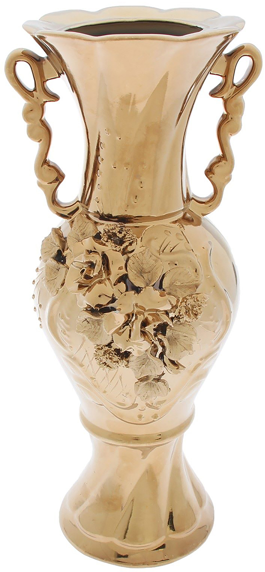 Ваза Керамика ручной работы Квитка, цвет: золотой196351Не знаете чем разнообразить надоевший интерьер? Шикарная роспись этих настольных ваз впишется в любое помещение. Подарите такую вазу близкому человеку на любой праздник, и он останется доволен.