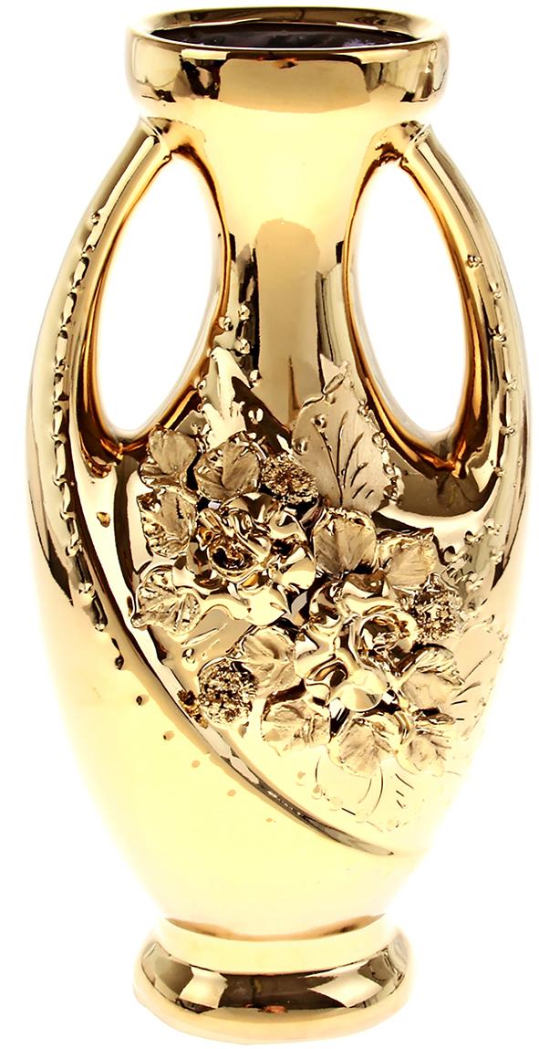 Ваза Керамика ручной работы Муза, цвет: золотой196358Не знаете чем разнообразить надоевший интерьер? Шикарная роспись этих настольных ваз впишется в любое помещение. Подарите такую вазу близкому человеку на любой праздник, и он останется доволен.