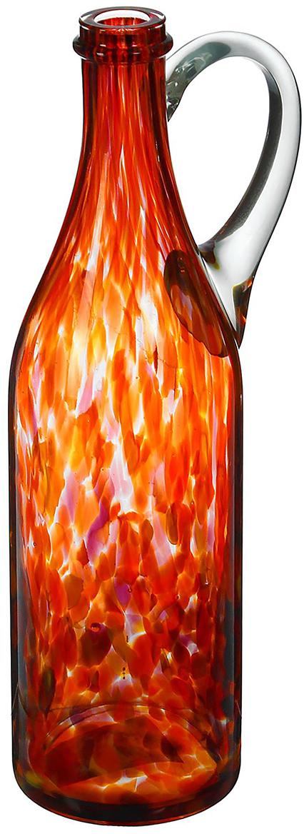 Ваза-бутыль Литр, цвет: красный, 31 см. 19847091984709Каждому хозяину периодически приходит мысль обновить свою квартиру, сделать ремонт, перестановку или кардинально поменять внешний вид каждой комнаты. Ваза-бутыль Литр с ручкой, красно-марганцевая - привлекательная деталь, которая поможет воплотить вашу интерьерную идею, создать неповторимую атмосферу в вашем доме. Окружите себя приятными мелочами, пусть они радуют глаз и дарят гармонию. станет достойным украшением его дома.