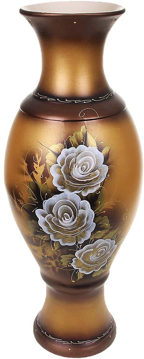 Ваза напольная Керамика ручной работы Юлия, цвет: бронзовый198731Это ваза - отличный способ подчеркнуть общий стиль интерьера. Существует множество причин иметь такой предмет дома. Вот лишь некоторые из них: Формирование праздничного настроения. Можно украсить вазу к Новому году гирляндой, тюльпанами на 8 марта, розами на день Святого Валентина, вербой на Пасху. За счёт того, что это заметный элемент интерьера, вы легко и быстро создадите во всём доме праздничное настроение. Заполнение углов, подиумов, ниш. Таким образом можно сделать обстановку более уютной и многогранной. Создание групповой композиции. Если позволяет площадь пространства, разместите несколько ваз так, чтобы они сочетались по стилю или цветовому решению. Это придаст обстановке более завершённый вид. Подходящая форма и стиль этого предмета подчеркнут достоинства дизайна квартиры. Ваза может стать отличным подарком по любому поводу, ведь такой элемент интерьера практичен и способен каждый день создавать хорошее настроение!