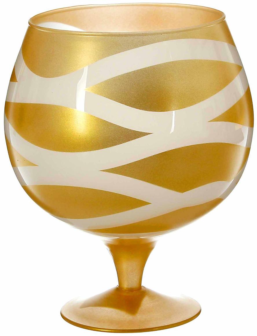 Ваза-бренди Evis Ольгеш, цвет: золотой, 2 л1993269Ваза - сувенир в полном смысле этого слова. И главная его задача - хранить воспоминание о месте, где вы побывали, или о том человеке, который подарил данный предмет. Преподнесите эту вещь своему другу, и она станет достойным украшением его дома.Каждому хозяину периодически приходит мысль обновить свою квартиру, сделать ремонт, перестановку или кардинально поменять внешний вид каждой комнаты. Ваза - привлекательная деталь, которая поможет воплотить вашу интерьерную идею, создать неповторимую атмосферу в вашем доме.