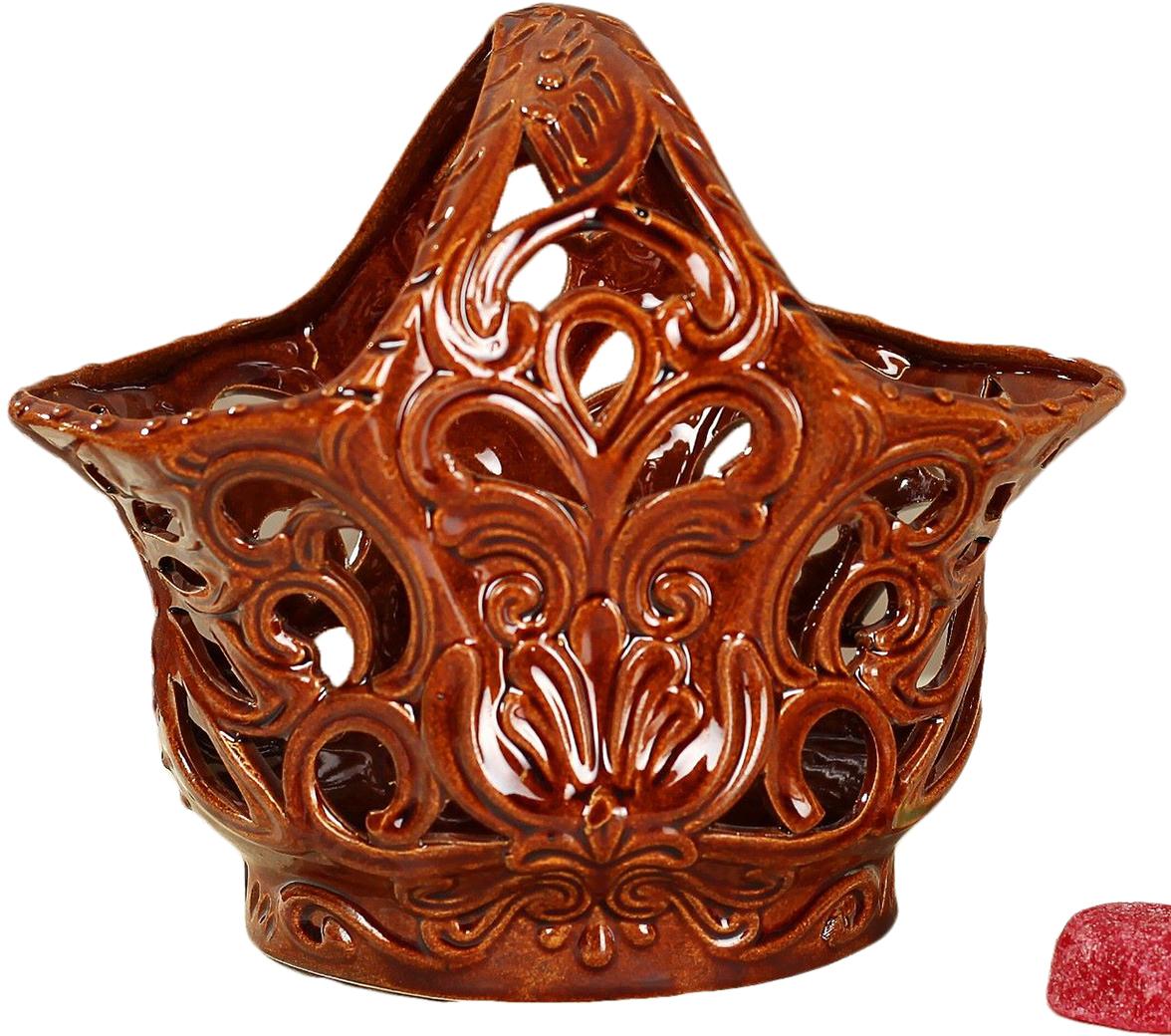 Конфетница Керамика ручной работы Тюльпан, цвет: коричневый2742299Ваза для конфет украсит любую квартиру, дачу или офис. Преподнести её в качестве подарка друзьям или близким – отличная идея. Необычный дизайн и расцветка может вписаться в любой интерьер и стать его уникальным акцентом. Вещь предназначена для подачи конфет, сухофруктов или восточных сладостей.