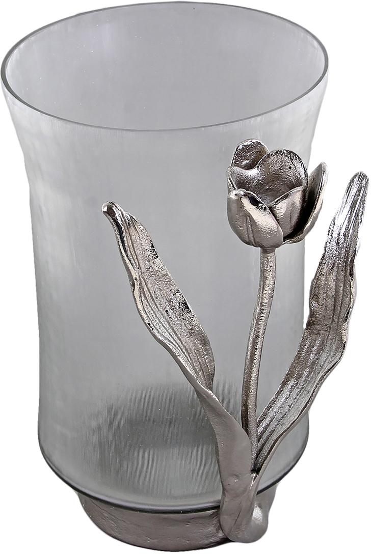 Ваза Тюльпан, 28 см699692Ваза Тюльпан станет актуальным подарком на 8 Марта, юбилей, день рождения или на годовщину свадьбы. Ваза выполнена из стекла и алюминия. В ней каждому цветочку будет комфортно, ведь она выполнена с душой индийскими мастерами-стеклодувами. Простой и в то же время оригинальный дизайн, словно завораживает. Такую вазу ни за что не хочется оставлять без цветов, ведь, глядя на нее, желание подарить букет своей любимой возникает само собой.