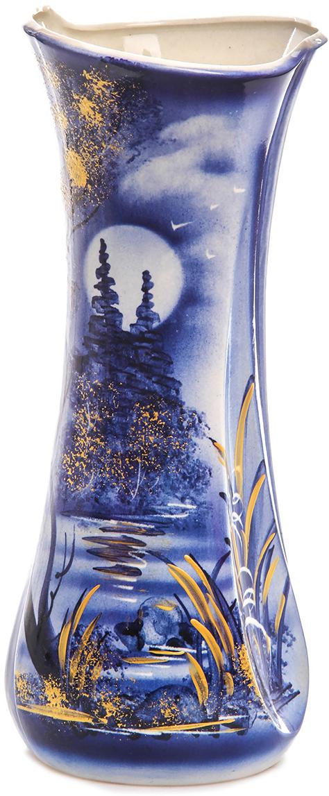 Ваза Керамика ручной работы Румба, цвет: синий. 749040749040Ваза из керамики не только станет прекрасным элементом декора помещения, но и сохранит свежесть вашего букета на долгое время. Подобно термосу, керамические сосуды сохраняют воду прохладной даже при высокой внешней температуре. Доказано, в керамической вазе цветы стоят почти в 2 раза дольше.