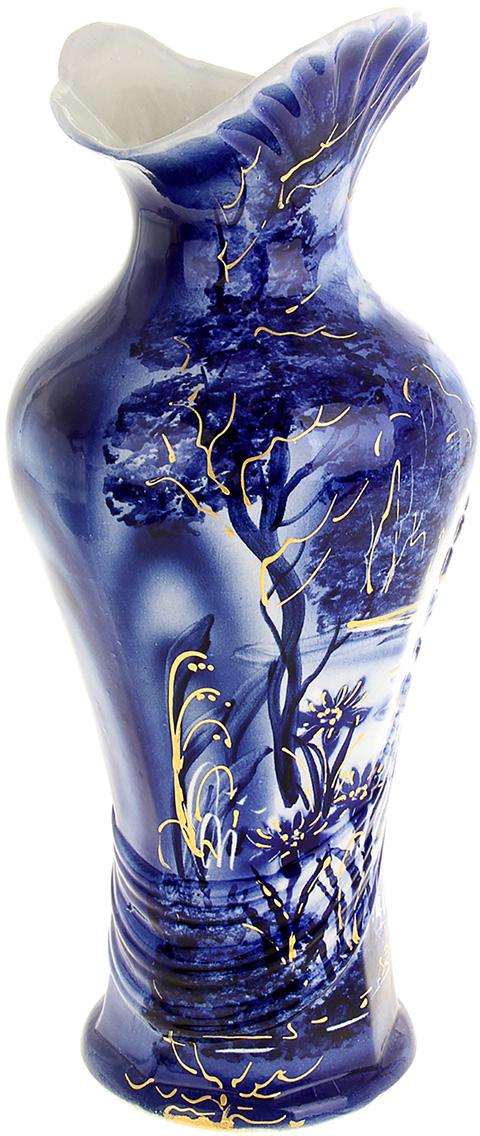 Ваза Керамика ручной работы Джульетта, цвет: синий, большая749047Не знаете чем разнообразить надоевший интерьер? Шикарная роспись этих настольных ваз впишется в любое помещение. Подарите такую вазу близкому человеку на любой праздник, и он останется доволен.