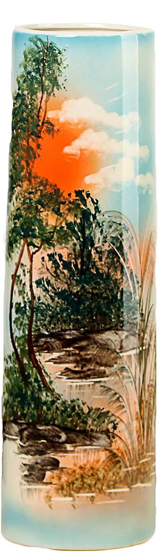 Ваза Керамика ручной работы Максимус, цвет: зеленый, средняя749065Не знаете чем разнообразить надоевший интерьер? Шикарная роспись этих настольных ваз впишется в любое помещение. Подарите такую вазу близкому человеку на любой праздник, и он останется доволен.