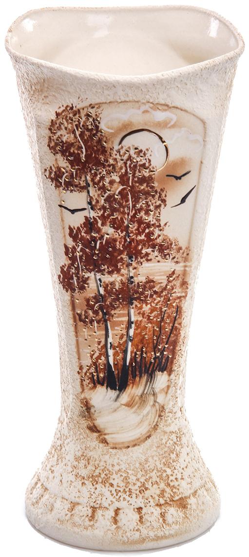 Ваза Керамика ручной работы Модерн, цвет: коричневый774505Не знаете чем разнообразить надоевший интерьер? Шикарная роспись этих настольных ваз впишется в любое помещение. Подарите такую вазу близкому человеку на любой праздник, и он останется доволен.