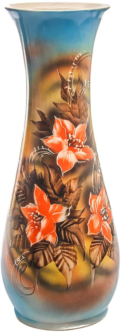 Ваза напольная Керамика ручной работы Осень, цвет: коричневый. 774564774564Напольная керамическая ваза – запоминающийся и броский акцент в вашем доме. Она добавит элегантности в интерьер и сделает его неповторимым. Кроме того, напольная ваза - шикарный подарок для настоящего эстета. Керамика – прекрасный материал для изготовления ваз. Ваза напольная Осень лилии, жёлто-голубая прочная и долговечная. Её очень сложно разбить или расколоть. Перед вами отличное сочетание «цена-качество».