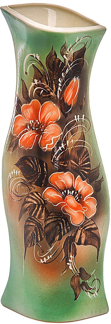 Ваза Керамика ручной работы Натали, цвет: зеленый774598Не знаете чем разнообразить надоевший интерьер? Шикарная роспись этих настольных ваз впишется в любое помещение. Подарите такую вазу близкому человеку на любой праздник, и он останется доволен.