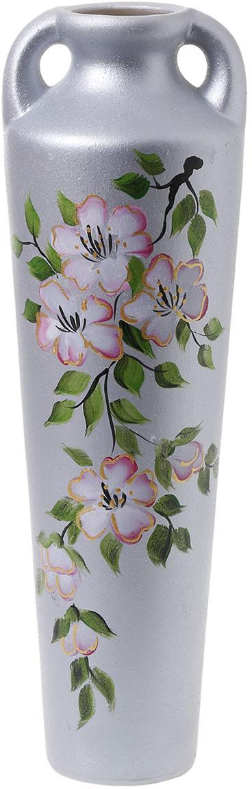 Ваза Керамика ручной работы Афина, цвет: серый, большая774606Ваза Афина большая, роспись, сакура украсит любую квартиру, дачу или офис. Преподнести её в качестве подарка друзьям или близким – отличная идея. Необычный дизайн и расцветка может вписаться в интерьер или стать его ярким, уникальным акцентом. Особые свойства керамики делают вазы из этого материала очень популярными. Цветы простоят дольше, потому что керамика отлично регулирует температуру. Вода останется прохладной даже при высокой температуре в помещении.