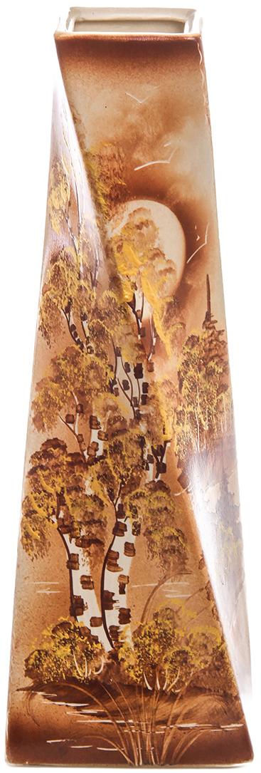 Ваза Керамика ручной работы Эквилибриум, цвет: коричневый. 774747774747Не знаете чем разнообразить надоевший интерьер? Шикарная роспись этих настольных ваз впишется в любое помещение. Подарите такую вазу близкому человеку на любой праздник, и он останется доволен.