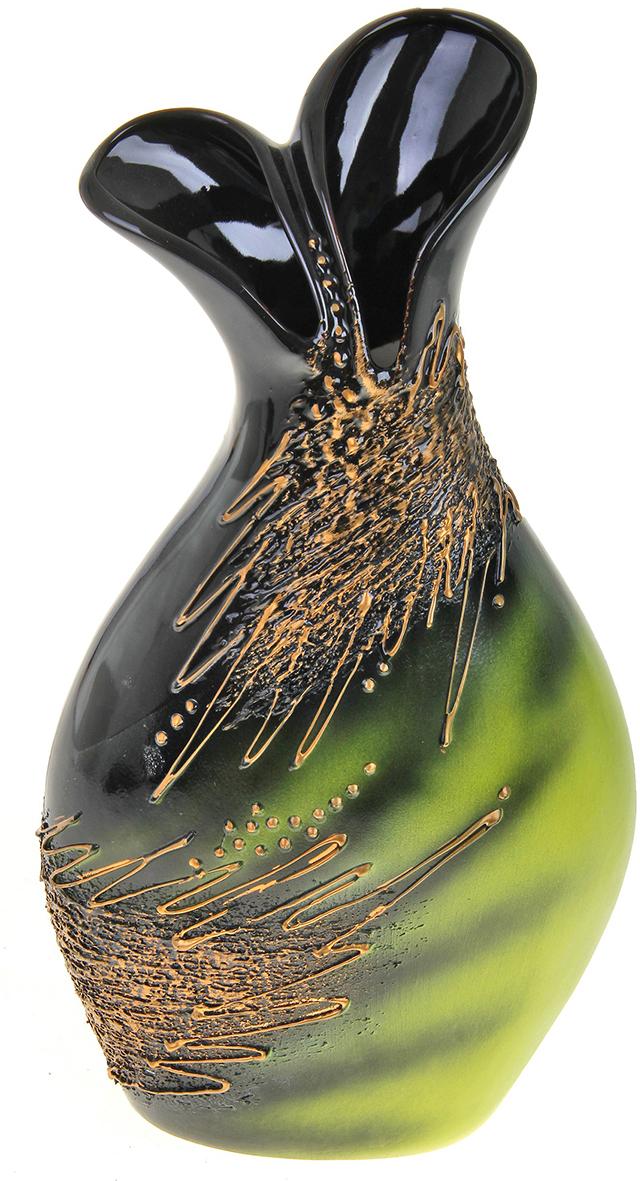 Ваза Керамика ручной работы Дуэт, цвет: черный788020Не знаете чем разнообразить надоевший интерьер? Шикарная роспись этих настольных ваз впишется в любое помещение. Подарите такую вазу близкому человеку на любой праздник, и он останется доволен.