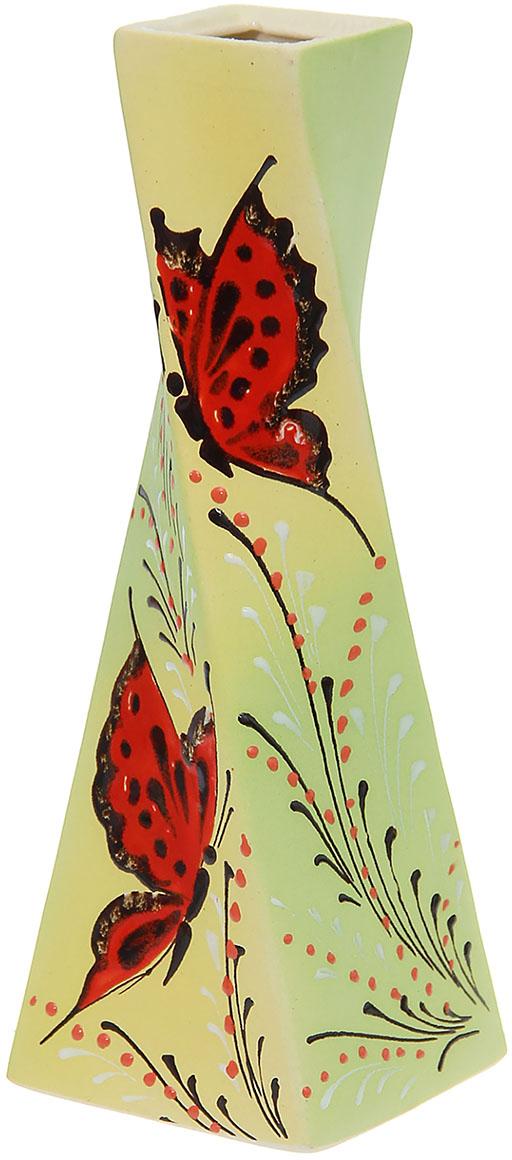 Ваза Керамика ручной работы Эквилибриум, цвет: зеленый, средняя794775Ваза Эквилибриум средняя, бабочка украсит любую квартиру, дачу или офис. Преподнести её в качестве подарка друзьям или близким – отличная идея. Необычный дизайн и расцветка может вписаться в интерьер или стать его ярким, уникальным акцентом.Особые свойства керамики делают вазы из этого материала очень популярными. Цветы простоят дольше, потому что керамика отлично регулирует температуру. Вода останется прохладной даже при высокой температуре в помещении.
