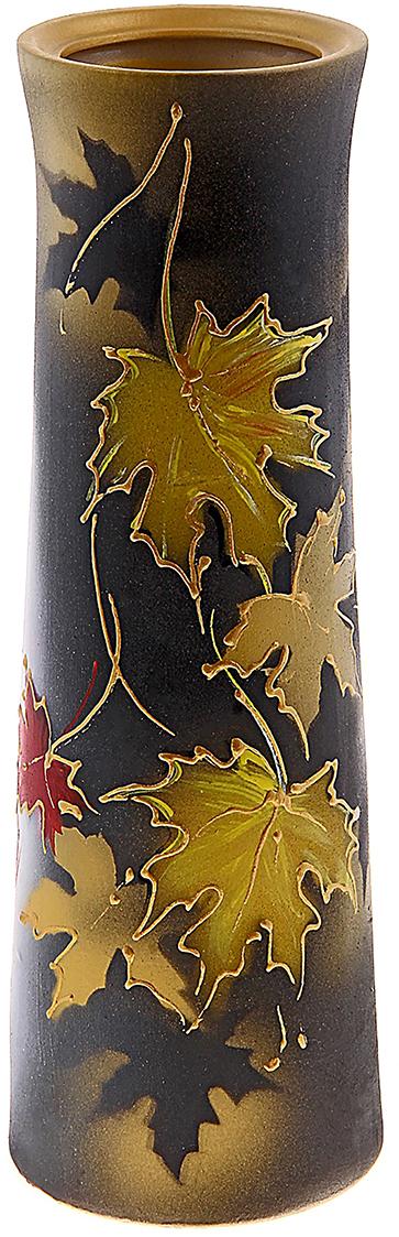 Ваза Керамика ручной работы Элита, цвет: коричневый, шелкография794788Ваза из керамики не только станет прекрасным элементом декора помещения, но и сохранит свежесть вашего букета на долгое время. Подобно термосу, керамические сосуды сохраняют воду прохладной даже при высокой внешней температуре. Доказано, в керамической вазе цветы стоят почти в 2 раза дольше.