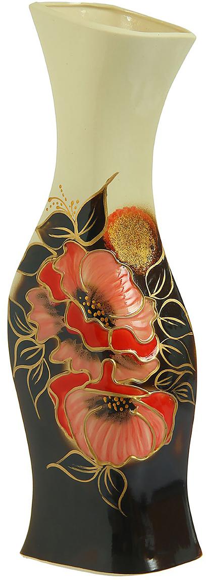 Ваза Керамика ручной работы Натали, цвет: черный. 825230825230Ваза Натали маки украсит любую квартиру, дачу или офис. Преподнести её в качестве подарка друзьям или близким – отличная идея. Необычный дизайн и расцветка может вписаться в интерьер или стать его ярким, уникальным акцентом.Особые свойства керамики делают вазы из этого материала очень популярными. Цветы простоят дольше, потому что керамика отлично регулирует температуру. Вода останется прохладной даже при высокой температуре в помещении.