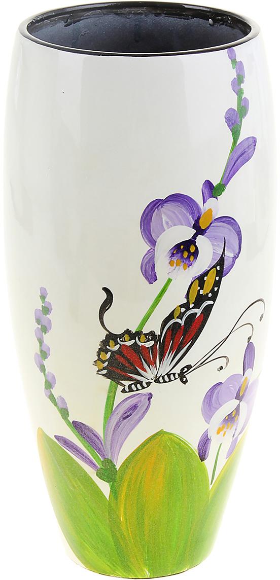 """Милая ваза """"Бабочка у орхидеи"""" выполнена из керамики в пастельных тонах. Она станет изысканным подарком на торжество, а также великолепным украшением вашей комнаты."""