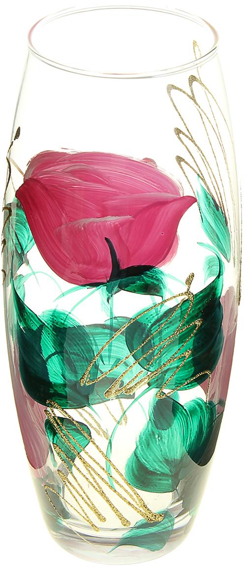 Ваза Бутон, 26 см. 878190878190Ваза Бутон, овальная оригинальной формы выглядит элегантно и стильно. Впишется в любой интерьер, подойдет любителям минимализма и стиля модерн. В стеклянной вазе особенно хорошо смотрятся строгие однотонные букеты. Изделие расписано розами - символом любви, красоты и весны. Изображение символизирует земную страсть, возрождение, вечность и небесное совершенство. Станет идеальным подарком на любое торжество.